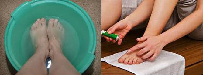 нанесение лечебного крема на ногти