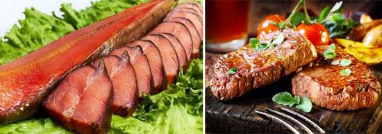 жаренная и копченая рыба и мясо