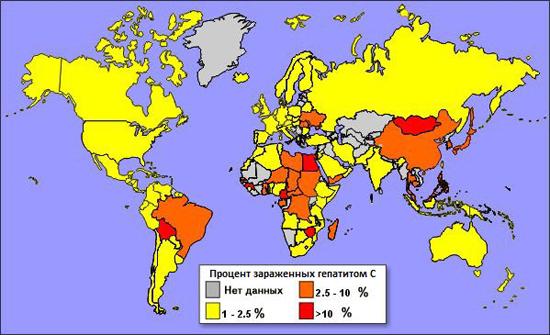 распространение гепатита в мире карта