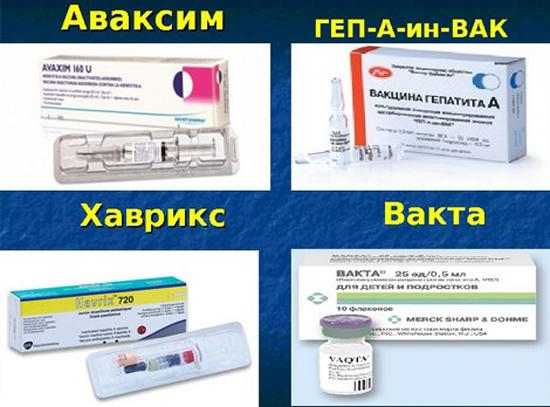 На фото вакцины от гепатита а