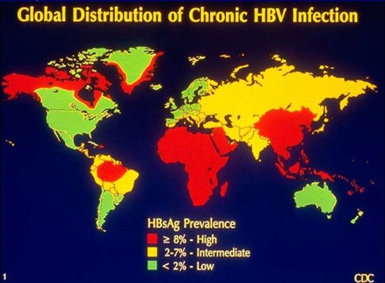 распространение HBV