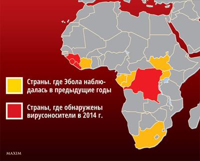 Распространенность вируса Эбола